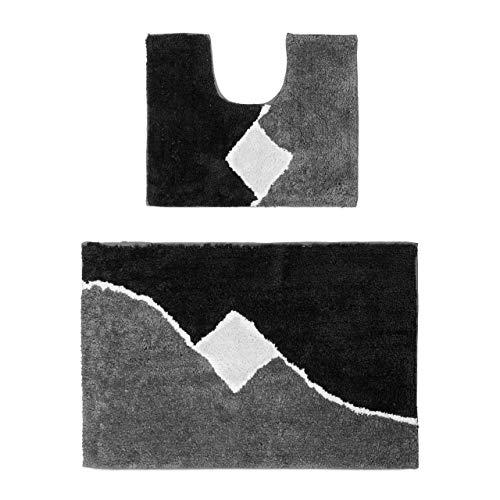 Relaxdays Badgarnitur 2-Teilig mit Grafikmuster, Für Fußbodenheizung, Waschbar, Badematte Vorleger, Für Stand-WC, 80 x 50 cm, Grau, Polyester, 50 x 80 x 1.5 cm