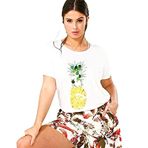 Camiseta Lentejuelas piña Mujer -
