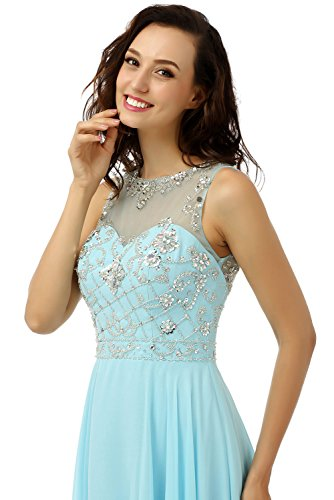 Ikerenwedding Damen Empire Kleid Blau - Blau
