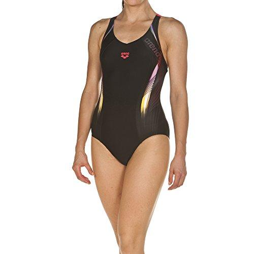 arena Damen Sport Badeanzug Fluency (Schnelltrocknend, UV-Schutz UPF 50+, Chlor- /Salzwasserbeständig), Black-Fluo Red (504), 42