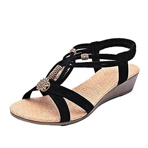 Femmes Sandale Flat,OverDose Peep-Toe Sandales Plates Avec Ornements Roman Sandals (FR:37, Noir)