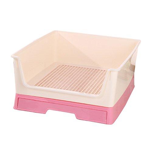 Lh Haustier WC Schublade Zaun Katze Hund Bettpfanne Einfache praktische Katze Wurf Sand Dog Toilette (Farbe : Pink)