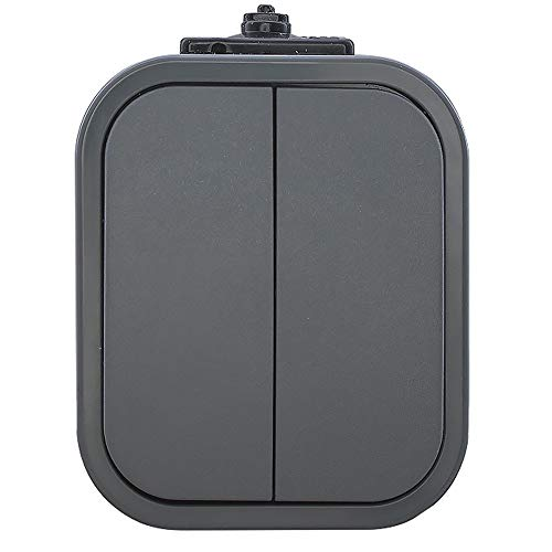 IP54 Aufputz Schuko Steckdose 1,2,3-fach Ein/Ausschalter Serienschalter Wechselschalter Taster Feuchtraum - Farbe Grau (Serienschalter mit Beleuchtung)