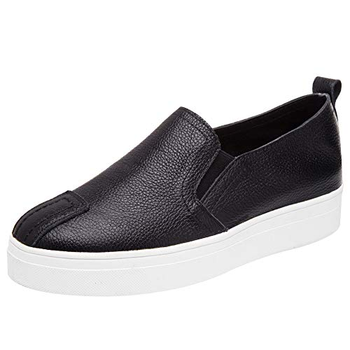 rismart Donna Bianco Sneaker Casual Piattaforma Scivolare su Low Top Scarpe da Ginnastica SN02648(Nero,34 EU)