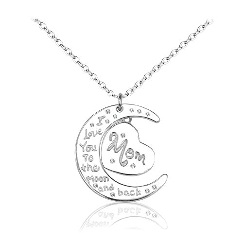 "BiBeary Damens elegant 925 Sterling Silber Muttertag Geschenk ""I love you to the moon and Back"" Pendant Halskette für Damen"