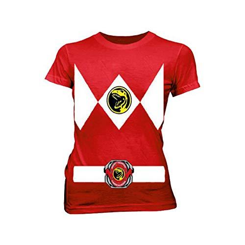 T Shirt Power Ranger Kostüm - Power Rangers Rot Ranger Kostüm Rot Damen T-Shirt Tee (X-Large)