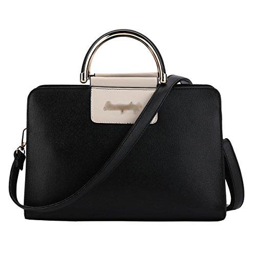 DISSA S883 neuer Stil PU Leder Deman 2018 Mode Schultertaschen handtaschen Henkeltaschen,300×140×190(mm) Schwarz