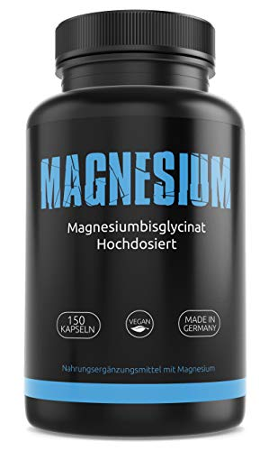 GYM-NUTRITION® — Magnesium – Magnesium-Tabletten – Magnesium-Bisglycinat – reines Magnesium ohne Zusätze — vegan, hochdosiert, Made in Germany — 150 Kapseln