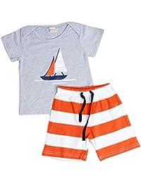 DRESS_start Ropa para NiñO - Conjunto Dibujos Animados para NiñOs -Camiseta NiñO Kid Set Sailboat + PantalóNes De Playa A Rayas -2PCS Traje De Verano Playa para 1-5AñOs,2018 Ropa Barato para Verano,