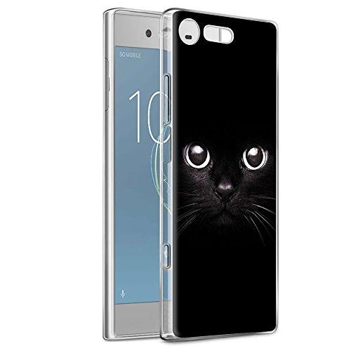 Eouine Funda Sony Xperia XZ1, Cárcasa Ultrafina Silicona 3D Transparente con Dibujos [Antigolpes] Gel TPU Protector Bumper Case Cover Fundas para Movil Sony Xperia XZ1 (Gato Negro)