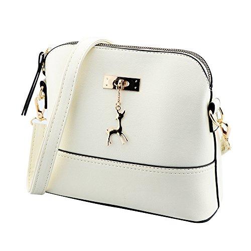 Kleine Umhängetaschen Leder Damen Günstige Handtaschen Schule Elegant Shopper (weiß)