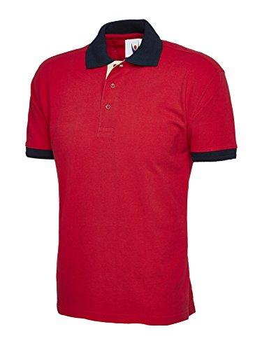 Unisex Kontrast Polo Short Sleeve Casual Freizeit Arbeit Workwear Sport Rot - Navy / Rot