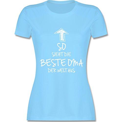 Oma - So sieht die beste Oma der Welt aus - tailliertes Premium T-Shirt mit Rundhalsausschnitt für Damen Hellblau