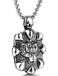 Aooaz Bijoux Pendentif Acier Inoxydable Tête de Tigre avec crâne Colliers  Hommes Argent b78e2ef3a2a1