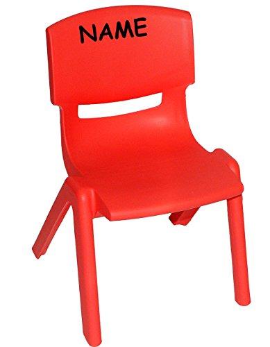 Kinderstuhl - ROT - stapelbar / kippsicher / bis 100 kg belastbar - incl. Namen - für INNEN & AUßEN - Kindermöbel für Mädchen & Jungen - Plastik / Kunststoff - Stuhl Stühle / Kinderzimmer / Plastikstuhl - Kinder - Gartenmöbel