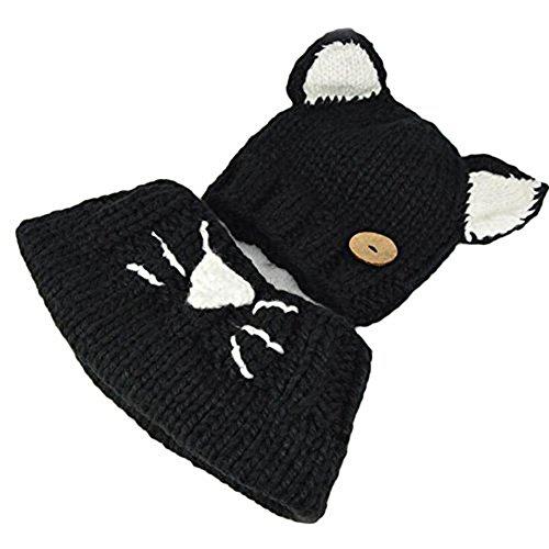 Fee-lice Baby Gestrickte Hüte Kinder Katze Gestalt Baby mütze Schlupfmütze Wintermütze Strickmütze Haube Beanie Mütze Schal Warm