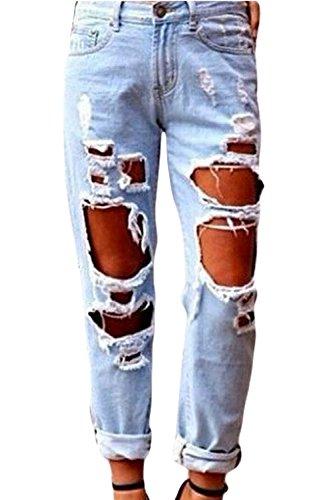 Le donne sexy elastico strappato buco lavato a tempo pieno jean addosso i pantaloni blue s