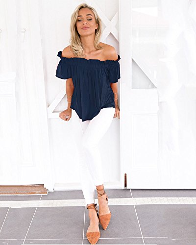 Minetom Frauen Sommer Off Shoulder T-Shirt Top Damen Strand Bluse Dunkelblau