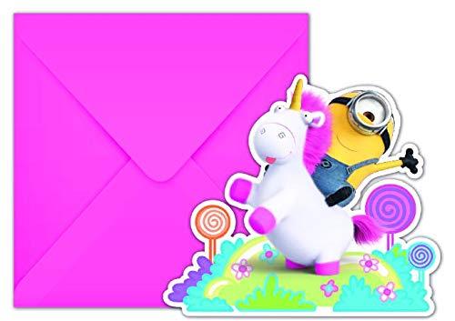 Neu: 6 Einladungen * Fluffy * für Den Kindergeburtstag | Minions Ich Einfach unverbesserlich Einhorn Mottoparty Motto Kinder Geburtstag Einladungskarten (Minion Party-einladungen Geburtstag)