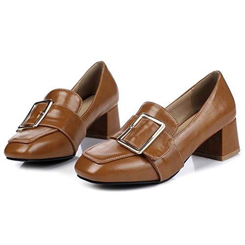 COOLCEPT Damen Mode-Event Schnallen Niedrige Brogues Schuhe Formal Mokassin Extra Sizes Braun