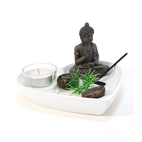 Jardin zen coeur - Blanc - Objet de décoration avec accessoires
