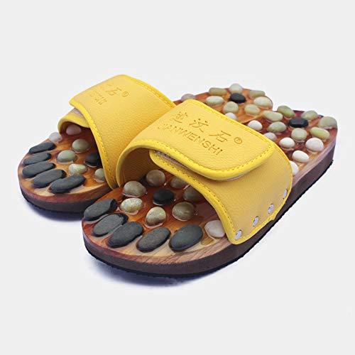 QIFUDEVS-MASSAGE SLIPPERS Home Neue direkte Versorgung Leder Massage Hausschuhe Kiesel Massage Schuhe Gesundheitspflege (Color : Yellow, Size : 36) -