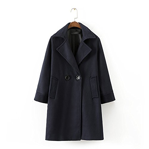 einfache weise frauen temperament in der langen abschnitt der zweireiher anzug kragen wolle mantel,m,navy blue (Blazer Blue Button Wolle Navy)