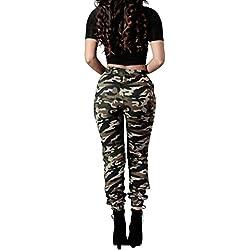 BaZhaHei de Mujer Pantalón, Pantalones Sueltos Ocasionales de los Pantalones Flojos Ocasionales del ejército de Camuflaje Verde Militar de Las Mujeres Military Camouflage Army Green Pants Trousers