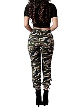 BaZhaHei de Mujer Pantalón, Pantalones Sueltos Ocasionales de los Pantalones Flojos Ocasionales del ejército de...