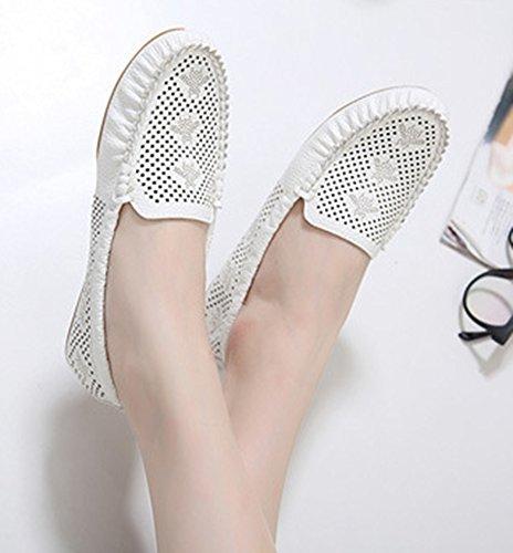 Aisun Femme Simple Coutures Chaussures Plates Mocassins Blanc