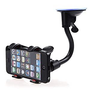 LR Car Mount, 6 Inches Long Arm Universal Windshield Dashboard Mobile Phone Smartphone Holder with Strong Suction Cup