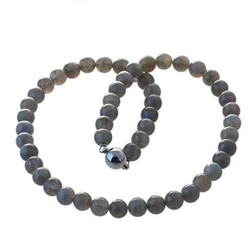 Labradorit Kette Collier 8 mm schillernde Perlen Bella Carina Edelstahl Magnetverschluss (45)