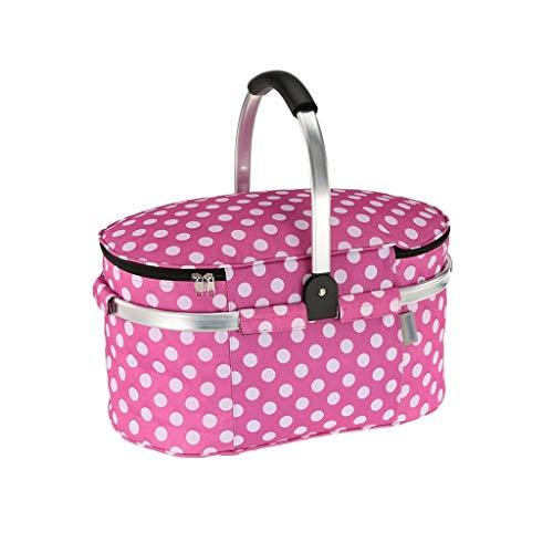 Outdoor 30L Falten Picknickkörbe Isolierte Lagerung Einkaufskörbe Aluminium Griff Picknick Taschen Tragbare Isolierung Frische Körbe (Color : Pink, Größe : 18.11 * 9.84 * 9.44inchs)