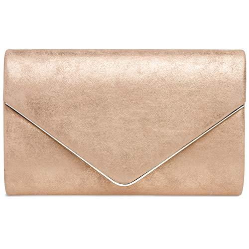 CASPAR TA349 Damen elegante Envelope Clutch Tasche Abendtasche mit langer Kette, Größe:One Size, Farbe:roségold