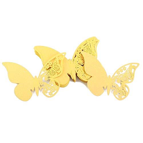 JZK® 50 x perlado amarillo tarjetas de nombre de boda de invitaciones de román...