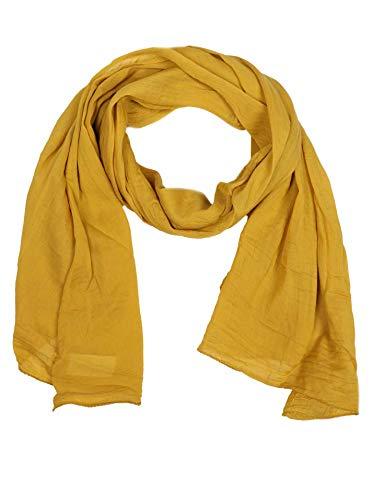 Zwillingsherz Seiden-Tuch für Damen Mädchen Uni Elegantes Accessoire/Baumwolle / Seiden-Schal/Halstuch / Schulter-Tuch oder Umschlagstuch einsetzbar - gelb