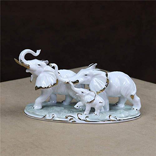 ERY Ornamente Statuen Dekorationen Figur Skulptur Porzellan Elephant Family Figur Keramik Elephant Miniature Home Decor Haushalt Ornament Craft Verschönerung Geburtstagsgeschenk, weiß und golden, M,W