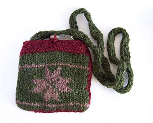 Tasche aus grüner Wolle, lila und bordeaux mit Reißverschluss GRATIS VERSAND 72H Sanchez Tasche