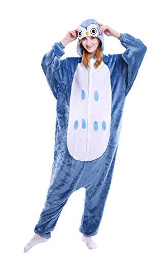 LazLake Jumpsuit Tier Fasching Pyjama Kostüm Onesie Overall Schlafanzug Erwachsene Unisex Kigurumi Owl S
