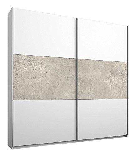 Schwebetürenschrank Kleiderschrank Schlafzimmerschrank MIGUEL 10 | 2-türig | Dekor | Alpinweiß | Betonoptik | 175x210x59 cm