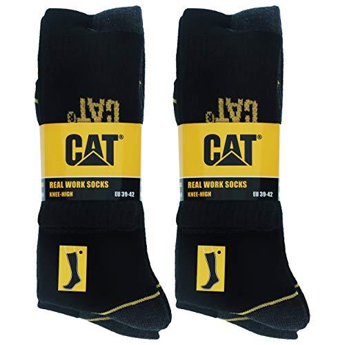 Caterpillar 4 paia calze lunghe da lavoro uomo antinfortunistiche rinforzate su tallone e punta filati di ottima qualità spugna di cotone (nero, 4346)
