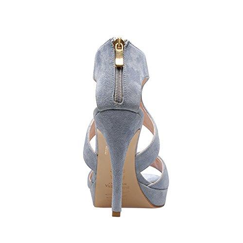 VALERIA sandales femme daim bleu clair