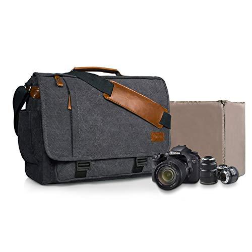Estarer Kameratasche Fototasche SLR/DSLR/Spiegelreflex Kamera Umhängetasche aus Wasserabweisend Canvas 15,6 Zoll Grau