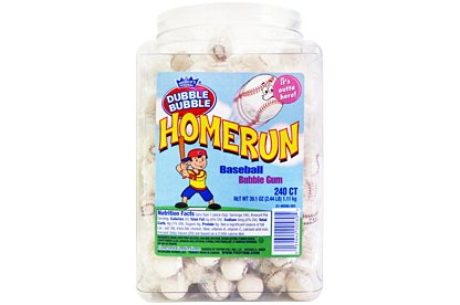 Home Run Baseball Bubble Gum Jar – 1 Tub (1100