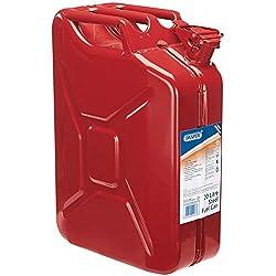 Draper Métal Jerrican pour Essence ou Diesel Fuel Rouge 20Litre