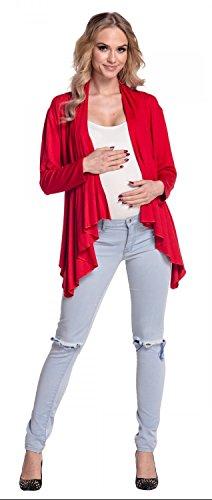 Happy Mama Damen - Umstands Stretch Shirtjacke Wasserfall-Jacke Blazer 320p Rot