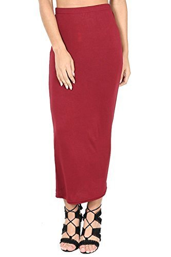 Oops Outlet Einfarbig Office Damen Stretch Bodycon Maxi Midi Bleistiftrock Plus Size 8-26 Weinrot