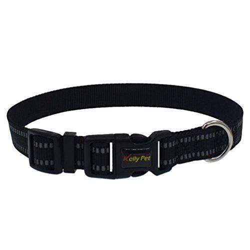 Yuncai Haustier Hund Reflektierend Atmungsaktiv Halsband Einstellbar Dauerhaft Leine Schwarz1 M