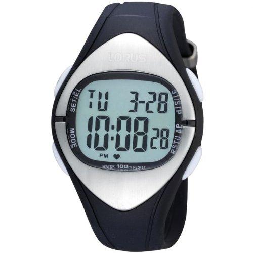 Lorus Unisex–R2393EX9–Sports Watch–Digital Quartz–LCD Dial–Black polyurethane strap