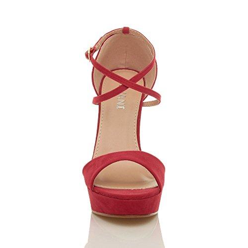 Damen Hoher Absatz Gekreuzten Riemchen Peep Toe Schuhe Plateau Sandalen Größe Rot Wildleder